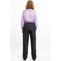 black trousers in natural silk, elastic waist and side pockets, back