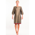 khaki and dark red dress in raw silk, mid length, front