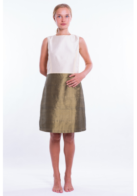 bronze and ivory silk taffeta dress, fitted at the waist, slight ball effect, invisible zipper, lined in silk, front