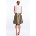 bronze and ivory silk taffeta dress, fitted at the waist, slight ball effect, invisible zipper, lined in silk, back