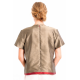 natural silk top bronze and cherry, lined with silk, short sleeves, fair-trade certified, back