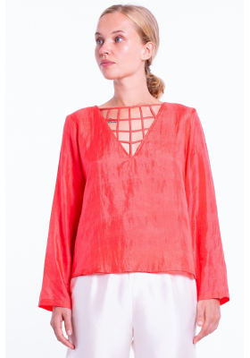chiffon silk blouse, V neckline, lined with silk
