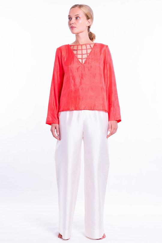 blouse corail en soie naturelle à manches longues, entrelacs, entièrement doublé, devant