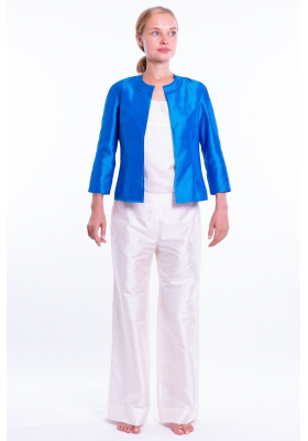blue jacket in natural silk, round flat collar, three-quarter sleeves, no buttons, handwoven