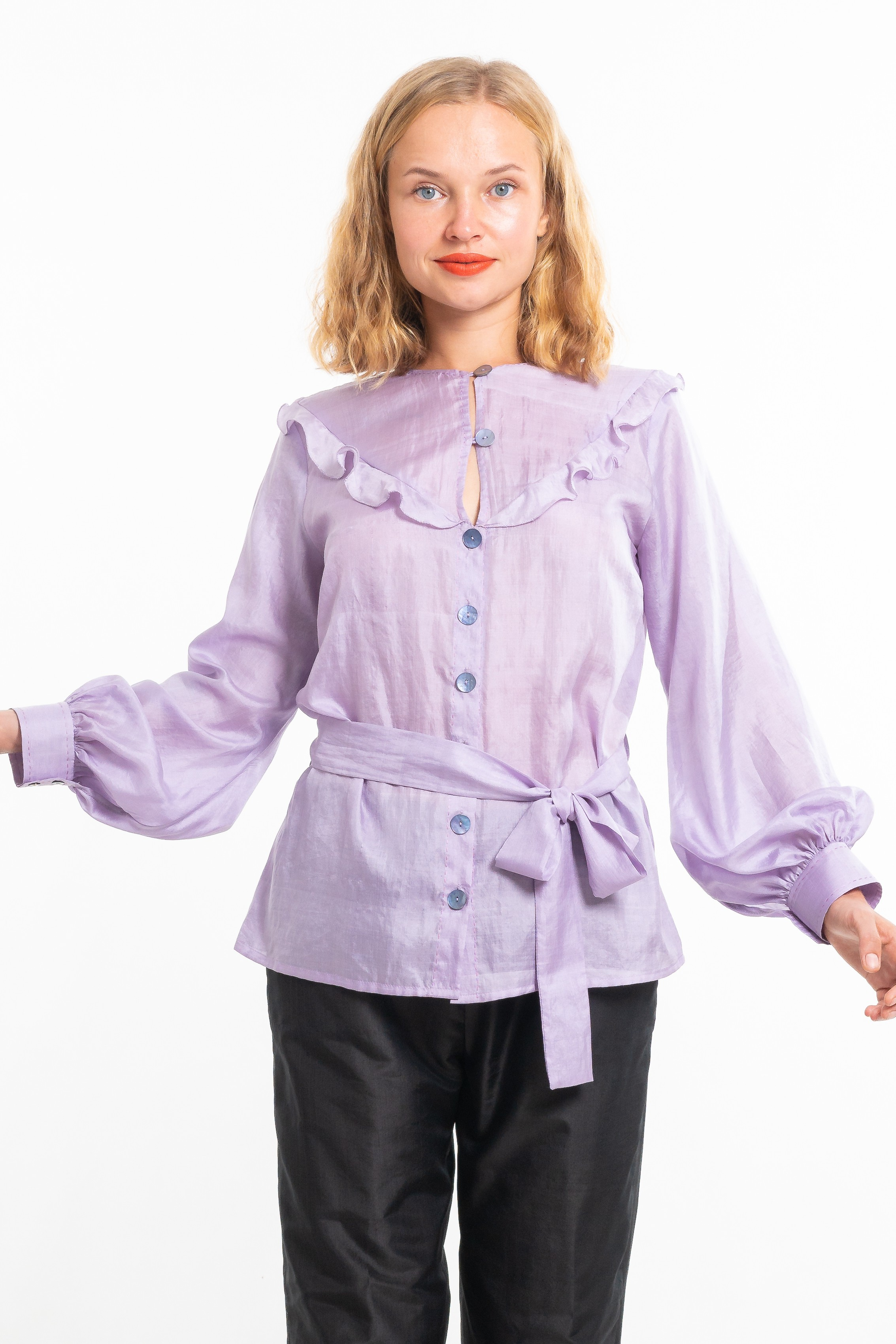 purple silk blouse, round neckline, airy flounces, handmade saddle stitching, puffed sleeves, belt tied on the side, front