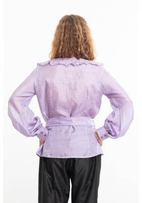 purple silk blouse, round neckline, airy flounces, handmade saddle stitching, puffed sleeves, belt tied on the side, back