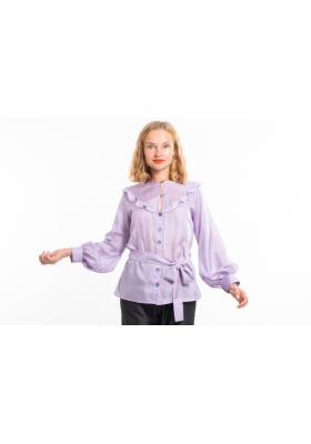 purple blouse in natural silk, round neckline, airy flounces, handmade saddle stitching, puffed sleeves, belt tied on the side