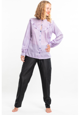 purple silk blouse, round neckline, airy flounces, handmade saddle stitching, puffed sleeves, belt tied on the side, handmade