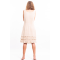 dress in lotus fiber, mid length, natural beige, lined in pure cotton, back