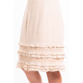 dress in lotus fiber, mid length, natural beige, lined in pure cotton, ruffles, orange hand stitched