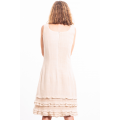 dress in lotus fiber, mid length, natural beige, lined in pure cotton, ruffles, orange hand stitched, handmade in Cambodia