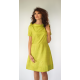 yellow, green short sleeves dress in natural silk, raised boat neckline, tulip-shaped, fair-trade certified