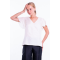 white natural silk top with short sleeves, V neckline, fully lined