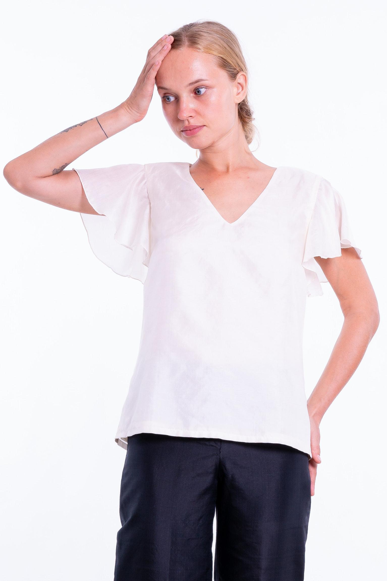 top blanc en soie naturelle, décolleté en V, manches courtes, entièrement doublé