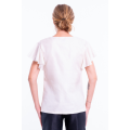white natural silk top with short sleeves, V neckline, fully lined, fairtrade certified