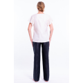 white raw silk top with short sleeves, V neckline, fully lined, fairtrade certified, back
