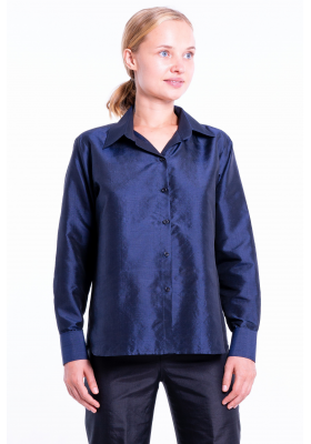 navy blue silk shirt, handwoven in Cambodia
