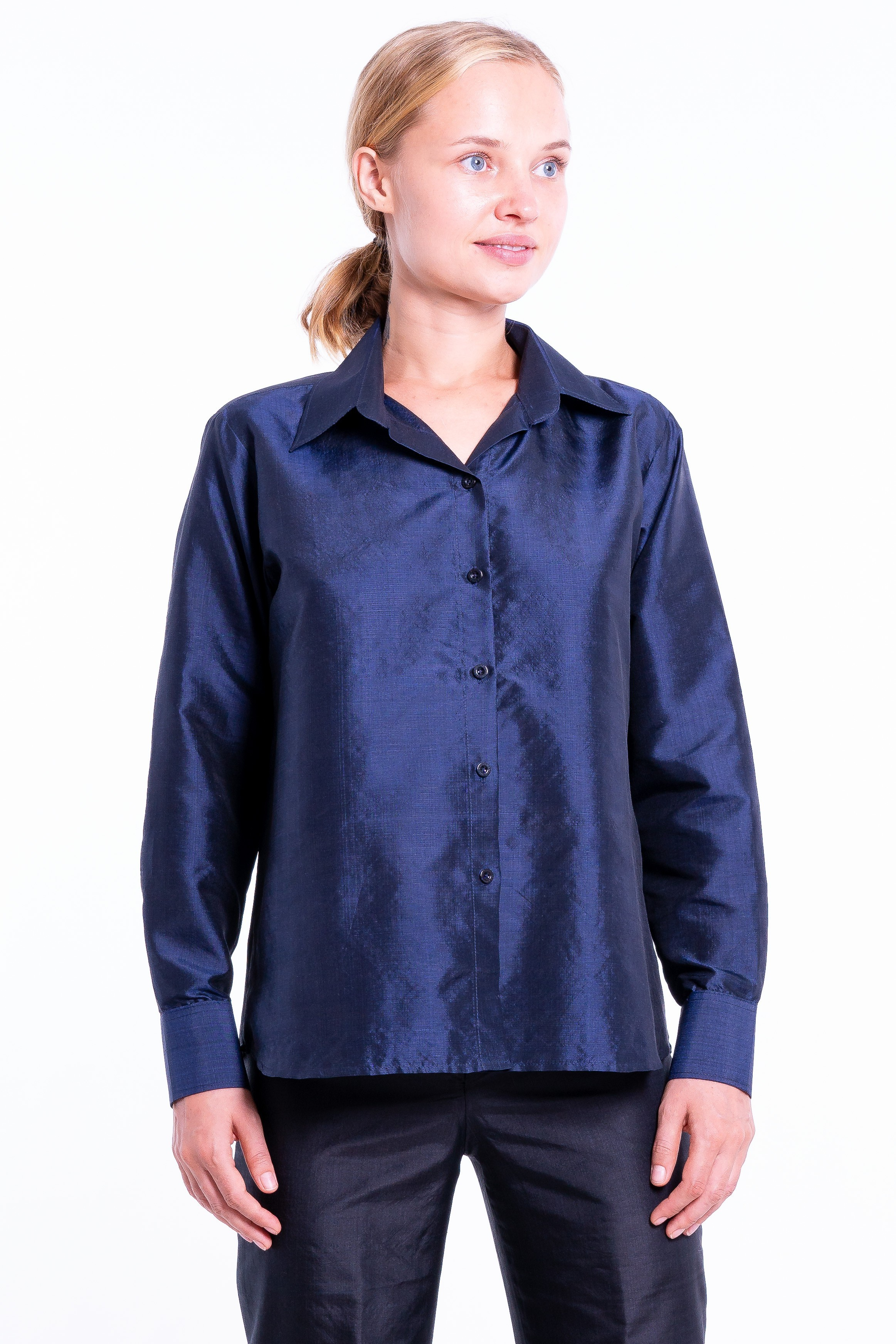 navy blue silk shirt, handwoven in Cambodia