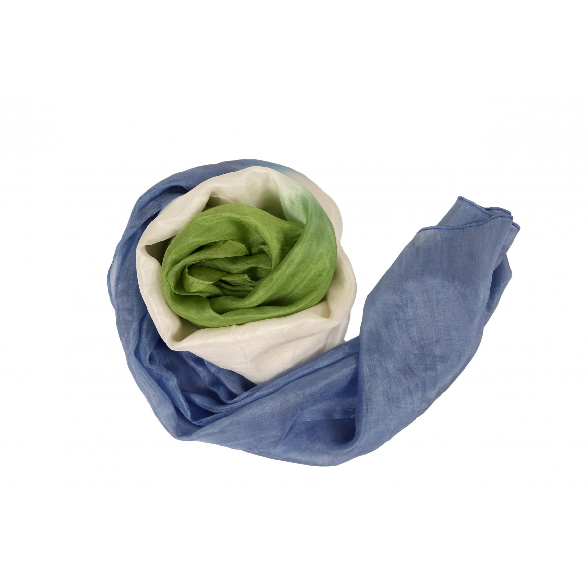 blue and green scarf in natural silk