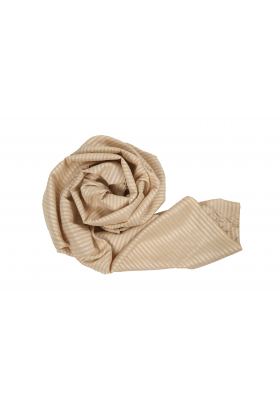 scarf with stripes in lotus fiber and natural silk, beige and white