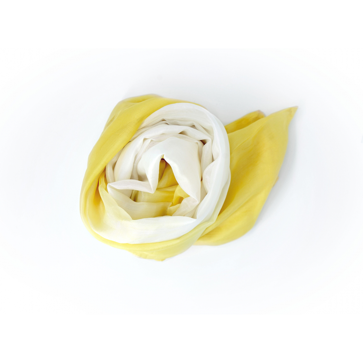 yellow and white natural silk scarf, handmade in Cambodia