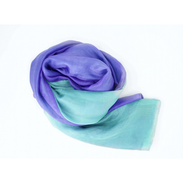 purple and turquoise scarf in natural silk, handwoven traditionally in Cambodia