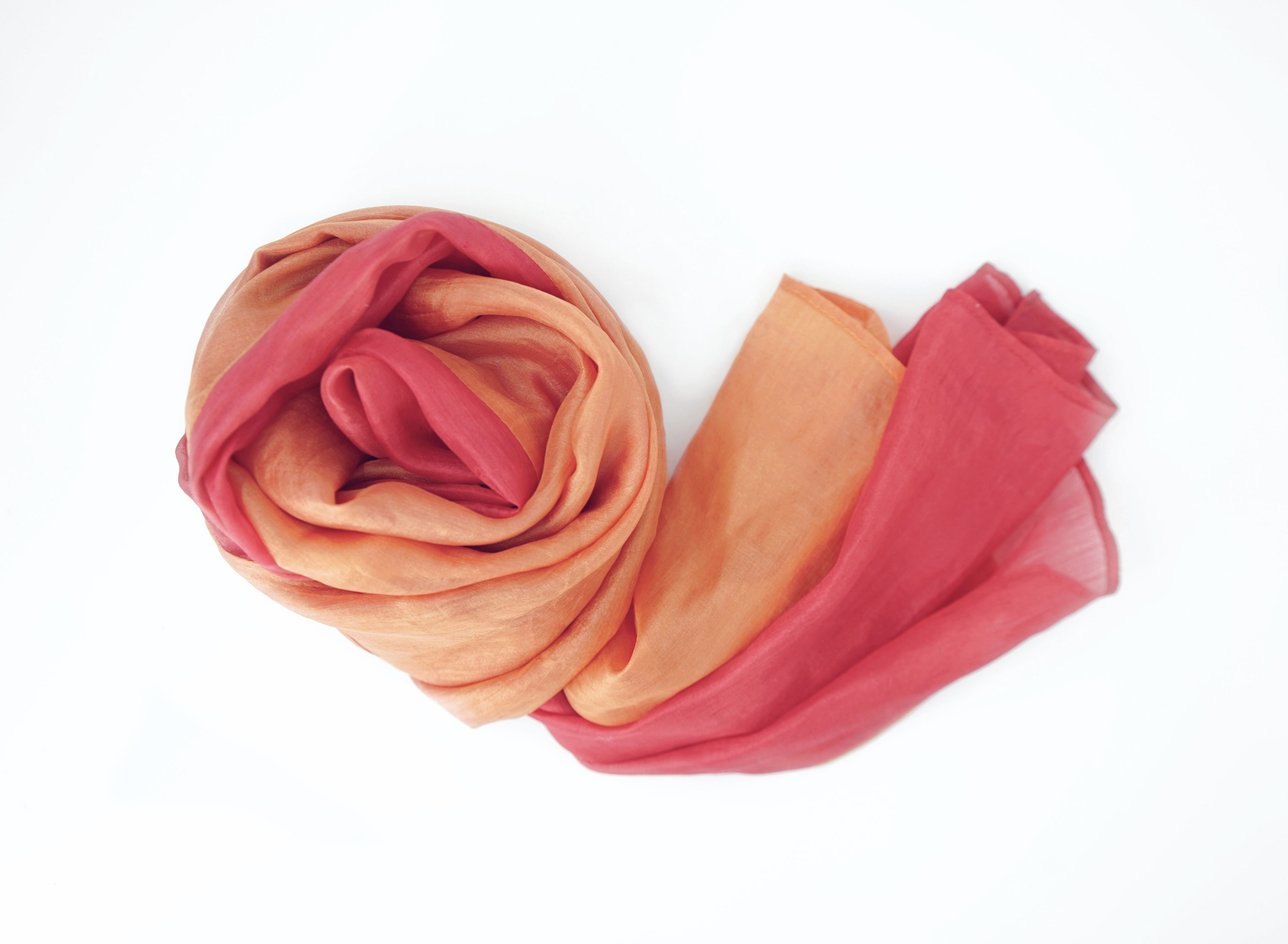 orange and red scarf in natural silk, fair trade certified