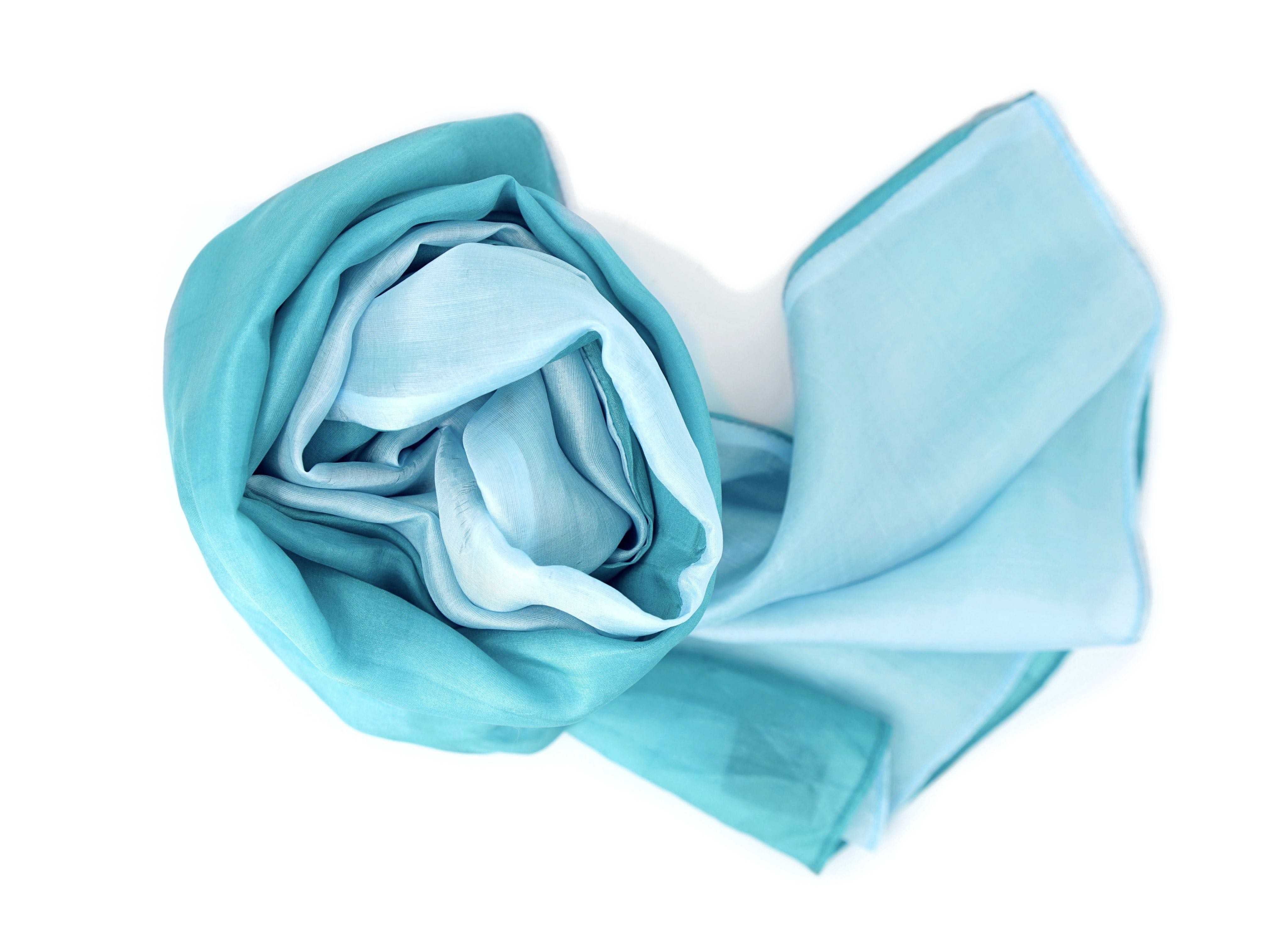 turquoise and sky blue natural silk scarf, handmade in Cambodia