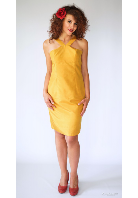 yellow dress in natural silk, handmade in Cambodia