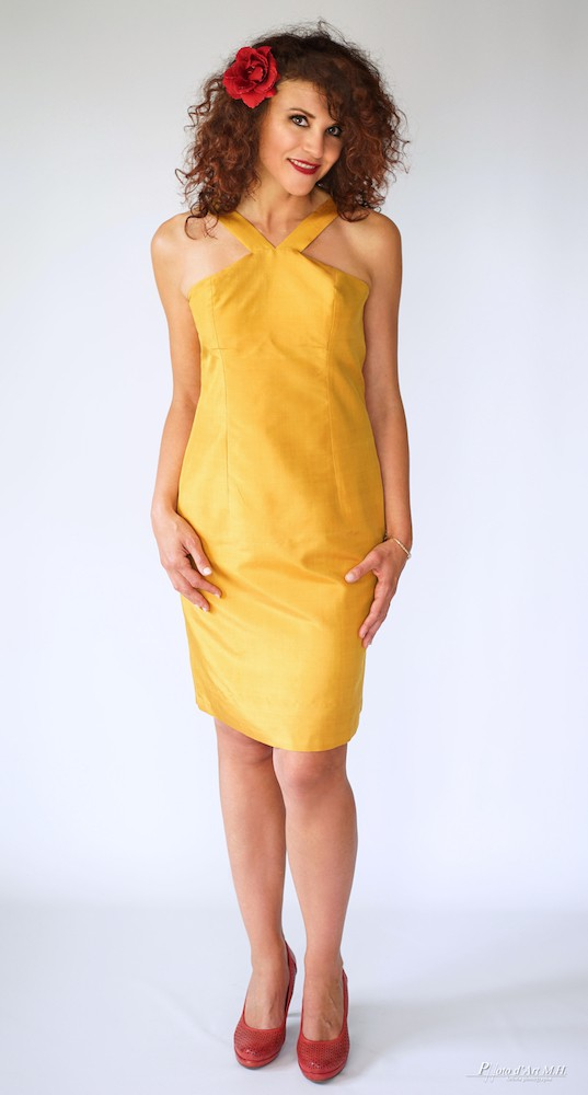 yellow dress in natural silk, handmade in Cambodia
