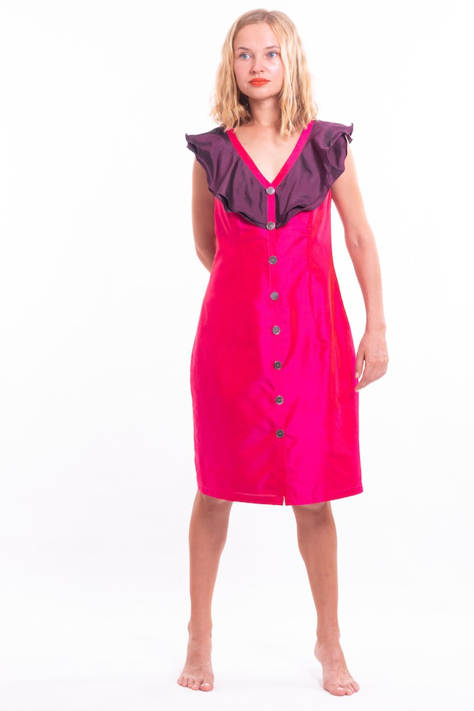 pink and purple dress in natural silk buttoned on the front, fair-trade certified