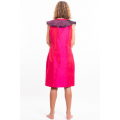 pink and purple dress in natural silk buttoned on the front, fair-trade certified, back