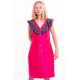 pink and purple dress in natural silk buttoned on the front, fair-trade certified, front