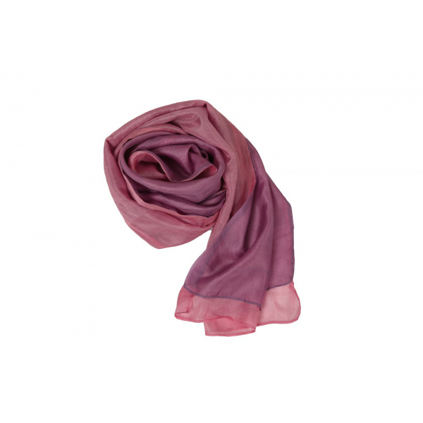 pink and mauve scarf in raw silk, ecological fabric