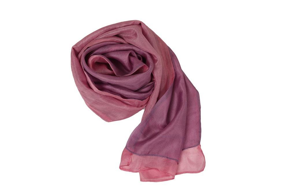 écharpe en soie naturelle rose et mauve, tissu écologique