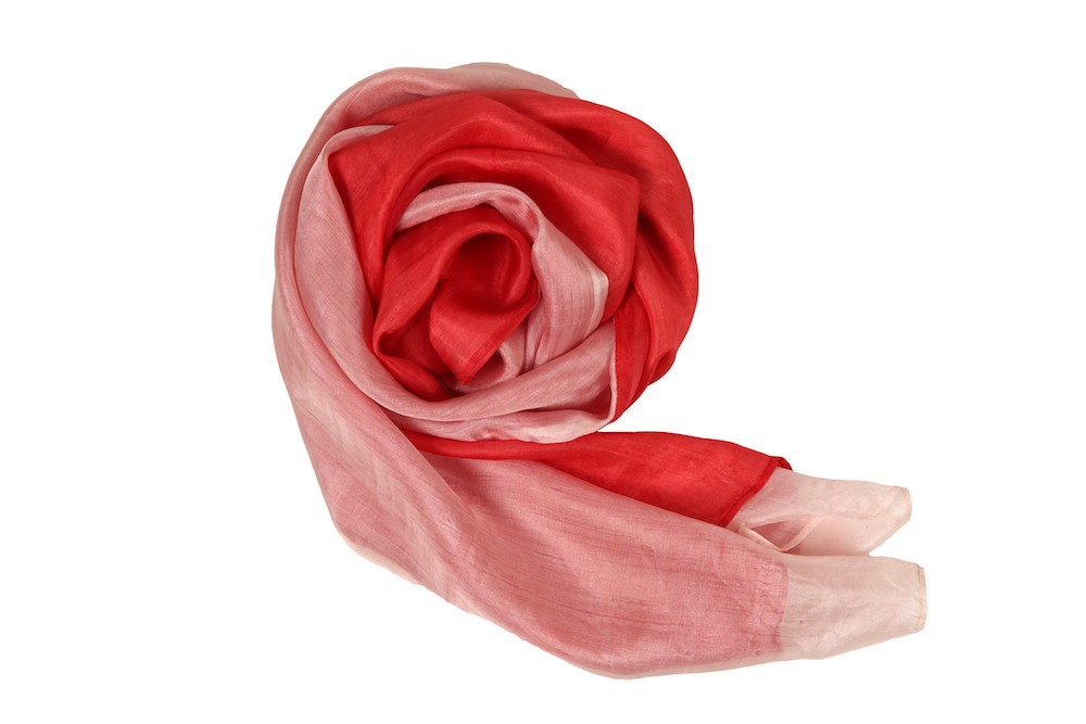 red and pink scarf in raw silk, handwoven in Cambodia