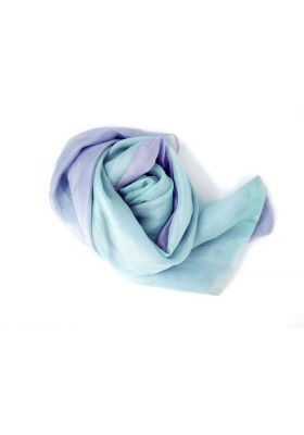 mauve and aqua scarf in raw silk, from fair-trade