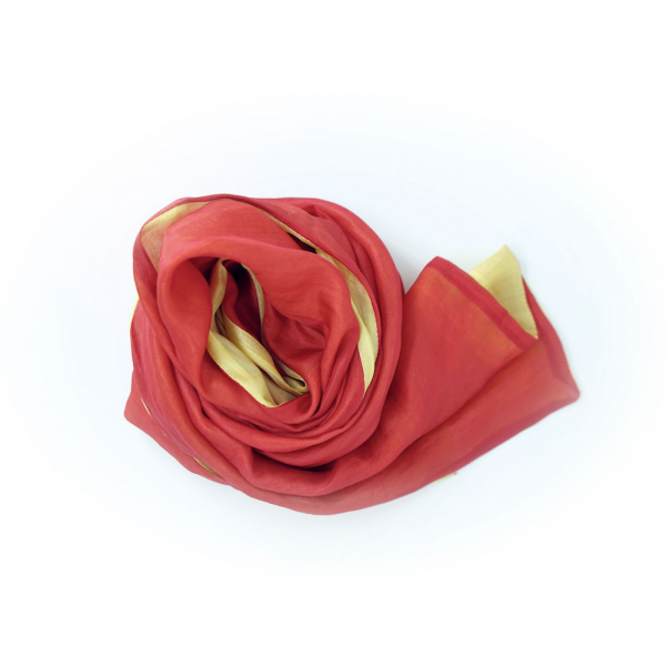 yellow and red scarf in natural silk, handmade in Cambodia