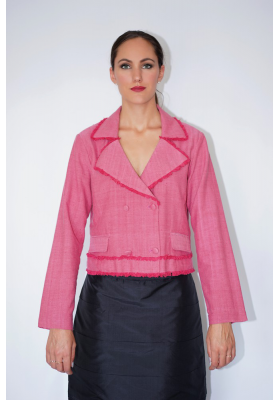 lotus fiber and cotton pink jacket, handmade fringes, front