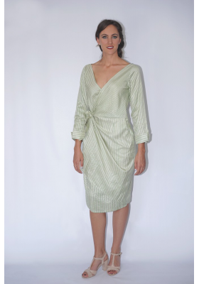 natural silk and lotus fiber mid-length dress white white and green stripes