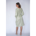 natural silk and lotus fiber mid-length wrap dress white white and green stripes, made in Cambodia, back