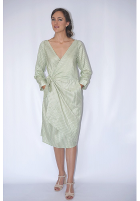 raw silk and lotus fiber mid-length wrap dress white white and green stripes, ethically made, front