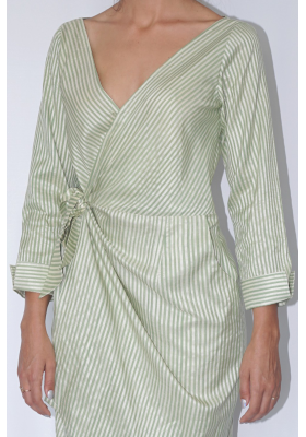 silk and lotus fiber mid-length wrap dress white white and green stripes, handwoven