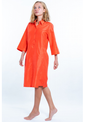 coral dress in natural silk, three-quarter sleeves, piped Italian pockets, handmade in Cambodia