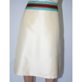 beige taffeta silk mid-length skirt with multicolored belt