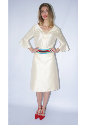 beige taffeta silk mid-length skirt with multicolored belt, front
