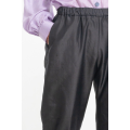 black trousers in natural silk, elastic waist and side pockets, handwoven in Cambodia