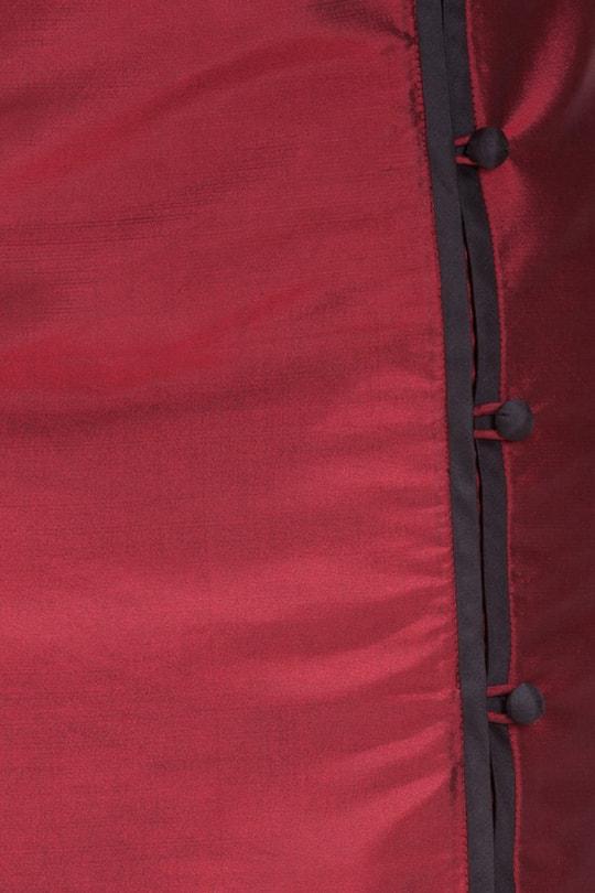 jupe portefeuille noir et rouge en soie naturelle, style asiatique, boutons traditionnels chinois, commerce équitable