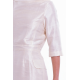 pure raw silk dress in natural ivory, mid-length, vintage inspiration, broad neckline, pencil skirt, handwoven