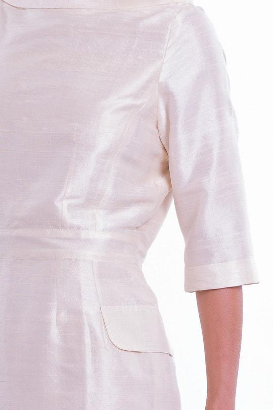 robe en soie sauvage couleur ivoire, entièrement doublée en soie et coton, esprit vintage, issu du commerce équitable